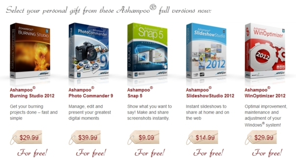 Produtos Ashampoo - Economize US$124,95!